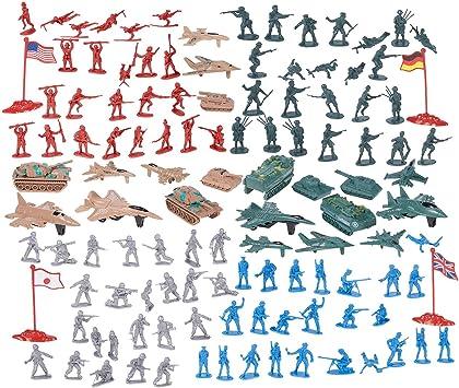 Juvale Figuras y Accesorios Militares (Segunda Guerra Mundial con Banderas, Aviones, Tanques) Pack de 124 Multicolor: Amazon.es: Juguetes y juegos