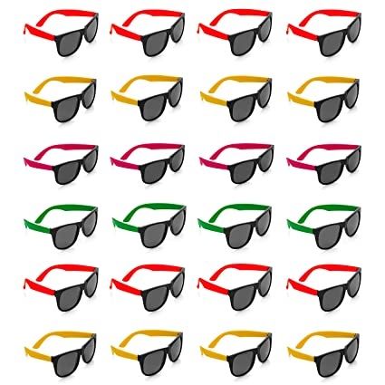 6be5b605de Kicko - Neon Sunglasses with Dark Lenses - 24 Pack 80 s Style Unisex  Aviators in Assorted