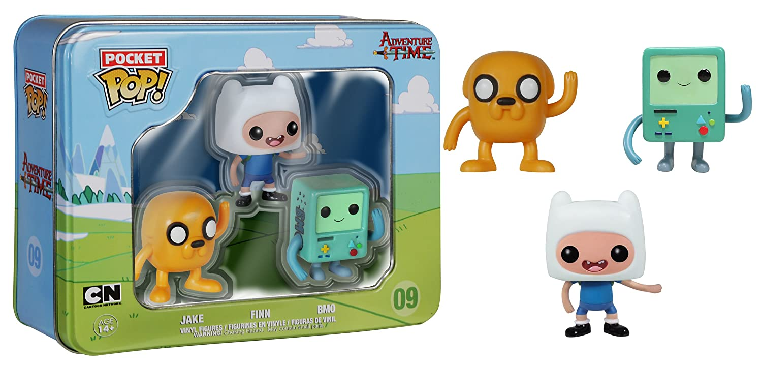 BMO Toy Figure Product Finn Funko Pocket POP: Adv Time Tin- Jake FUN4866 Misc Pack of 3