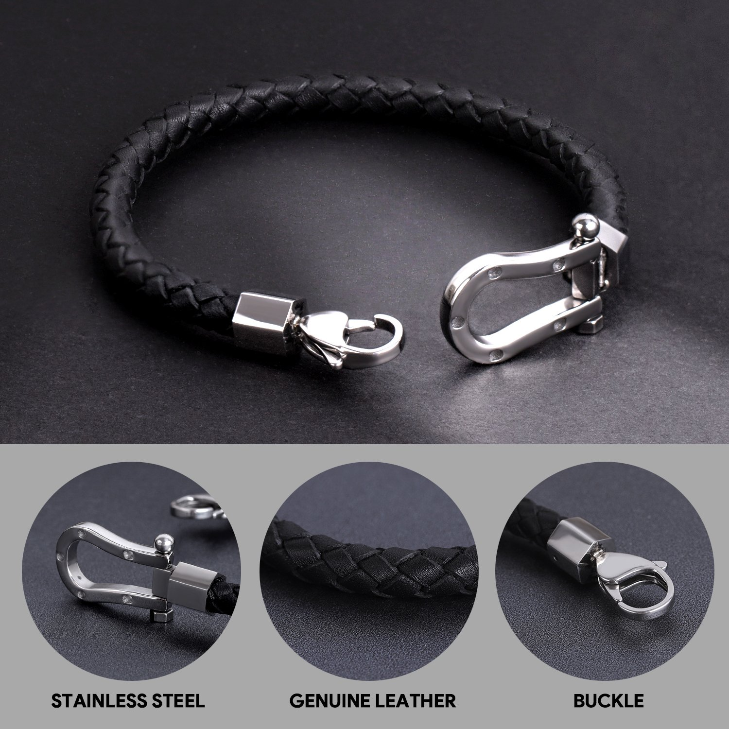 ZD-jewelry Mens  Leather Bracelet Cowhide Braided Good Luck Horseshoe Stainless Steel, Black Wrist Cuff Bangle Lobster Clip, Bracelet For Men 8.5 inch by ZD-jewelry (Image #2)