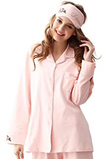 04ce9aaa541d MyDream Women 100% Cotton Soft Cozy Pajamas Set Button Front Long Sleeve  Top Sleepwear