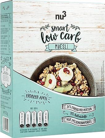 nu3 Muesli Low Carb sabor fresa y manzana | 575g de mezcla de avena y cereales | Desayuno vegano nutritivo bajo en carbohidratos | 100% más fibra y 200% más ...