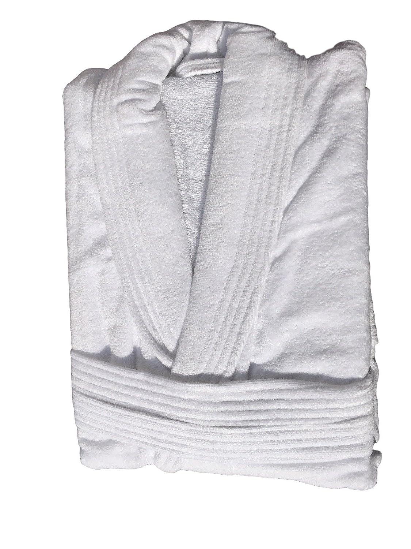 White Spa Quality Womens & Mens Luxury Velour 420gsm Cotton Adults Shawl Collar Bathrobe Dressing Gown X/XL One Size