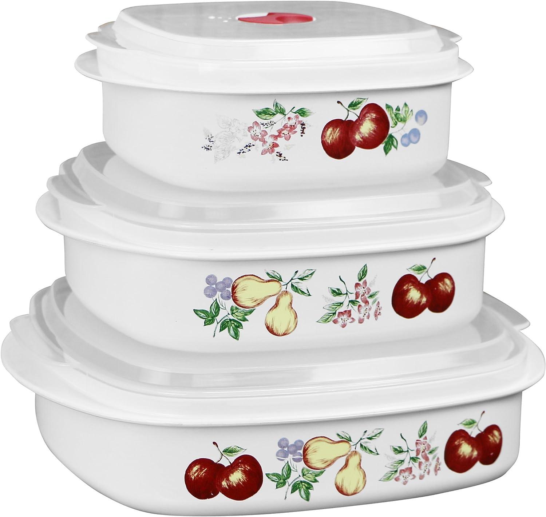 Reston Lloyd 6-Piece Microwave Cookware, Steamer, Storage Set Corelle Coordinates, 3, White
