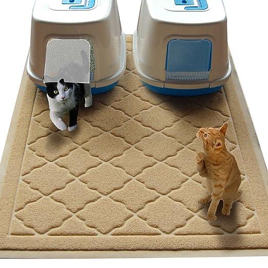 Esterilla para caja de arena de gatos no tóxica tamaño JUMBO - (47 x 36 pulgadas) - Esterilla extragrande de gatitos con control de salpicaduras para debajo ...