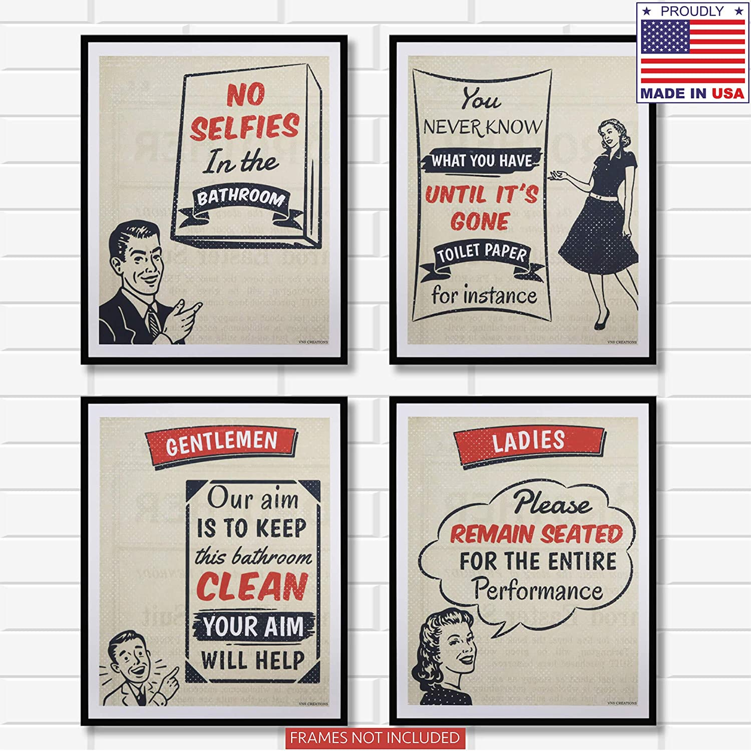 Funny Bathroom Decor Pictures. Set of 4 Unframed Art Prints Signs with Sayings. Vintage & Rustic Bathroom Quotes Decorations. Restroom Wall Decor Posters Ideal for Any House, Apartment or Farmhouse.