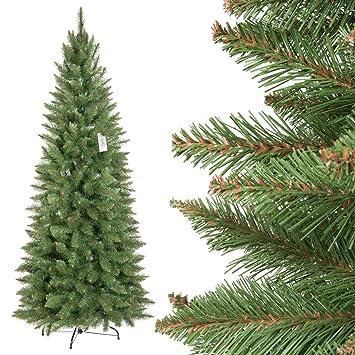 Weihnachtsbaum Künstlich Schmal.Fairytrees Weihnachtsbaum Künstlich Slim Fichte Natur Grüner Stamm Material Pvc Inkl Metallständer 180cm