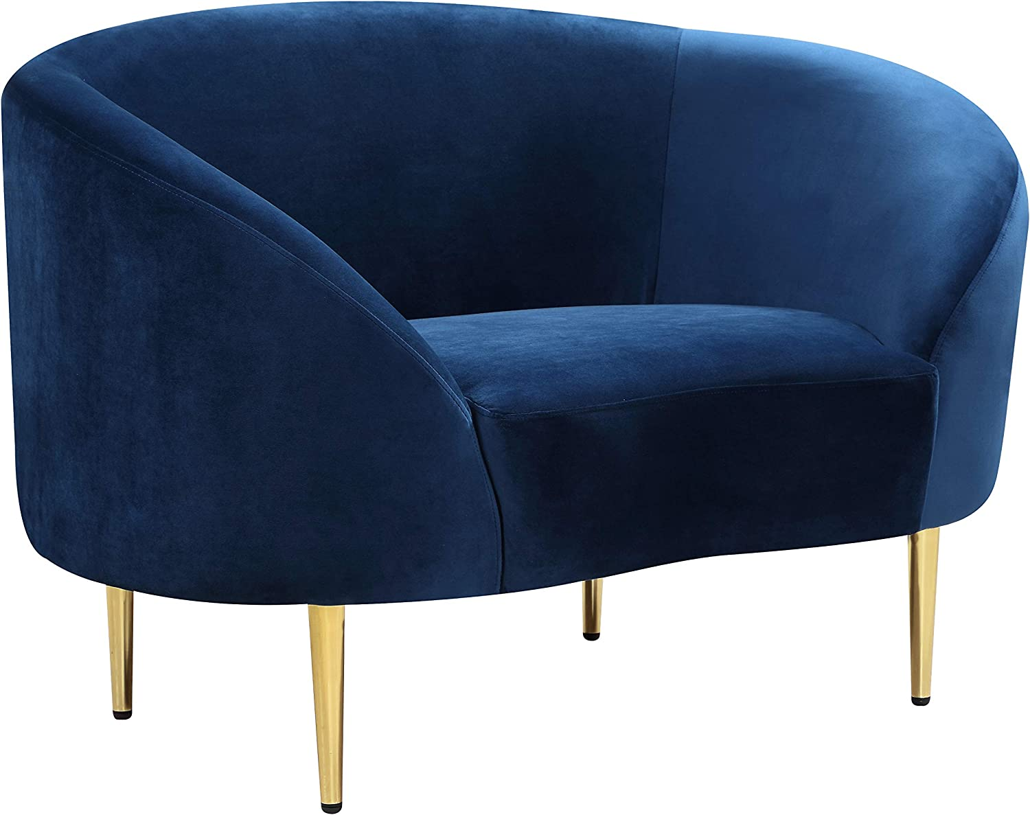 """Meridian Furniture Ritz Collection Modern   Contemporary Velvet Upholstered Chair with Sturdy Metal Legs in Rich Gold Finish, Navy, 43.5"""" W x 31.75"""" D x 30.5"""" H"""