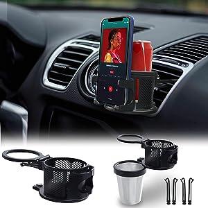EcoNour Car Cup Holder with Mobile Mount | Multifunctional Expander Car Drink Holder with 360° Rotatable Base | Cupholder Organizer AC Vent Mount | Mug, Beverage, Bottle, Flask Holder for All Cars