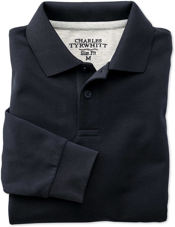 Charles Tyrwhitt piqué-camisa Polo Slim Fit azul marino manga larga