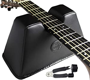 BluesBay Leather Guitar Neck Rest, Guitar Neck Support, Paired Guitar Tools Included Guitar String Winder and Cutter, Guitar Neck Cradle, String Instrument Neck Support, Best Gift for musician