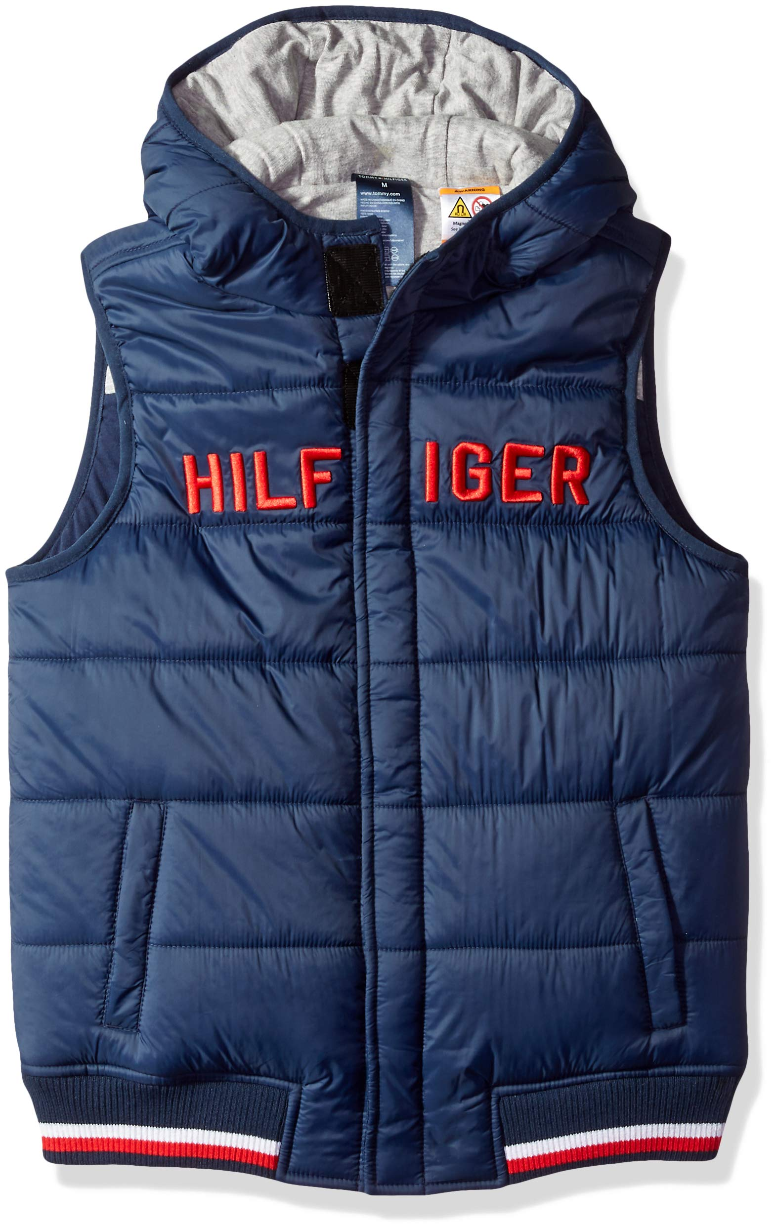 Tommy Hilfiger Boys' Adaptive Vest with Hood and Magnetic Buttons, core navy/grey Medium by Tommy Hilfiger