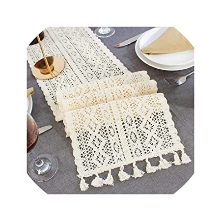 COEAGLE Table Runners Camino de Mesa de Encaje de Ganchillo Beige ...