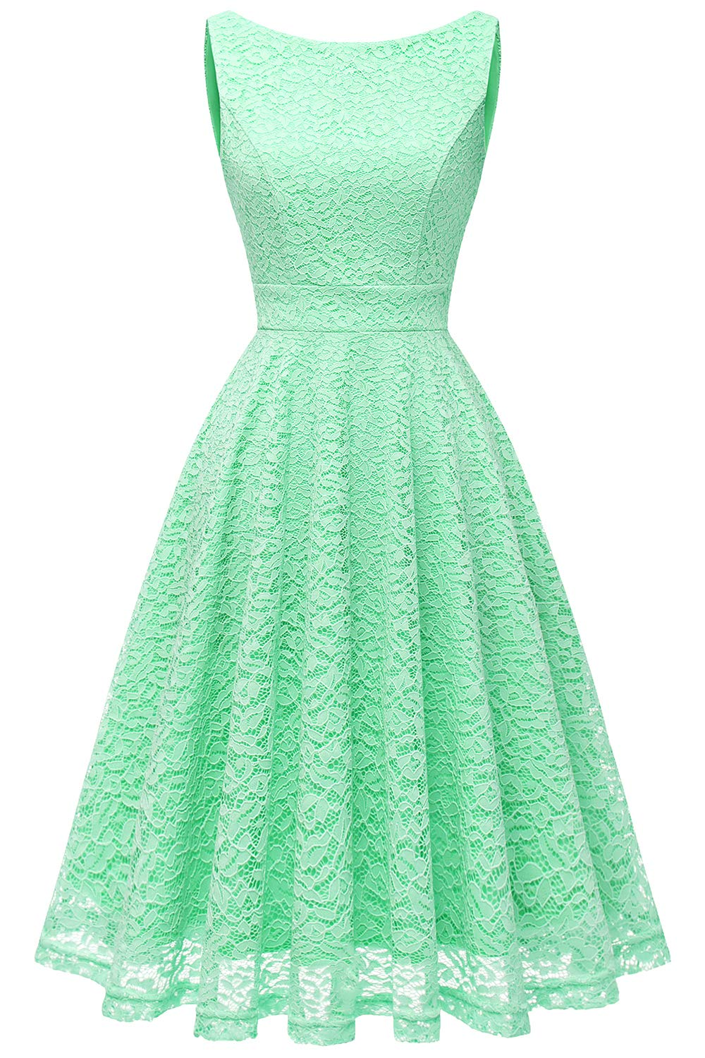 Bbonlinedress Women's Short Floral Lace Bridesmaid Dress V-Back Sleeveless Formal Cocktail Party Dress Mint XL
