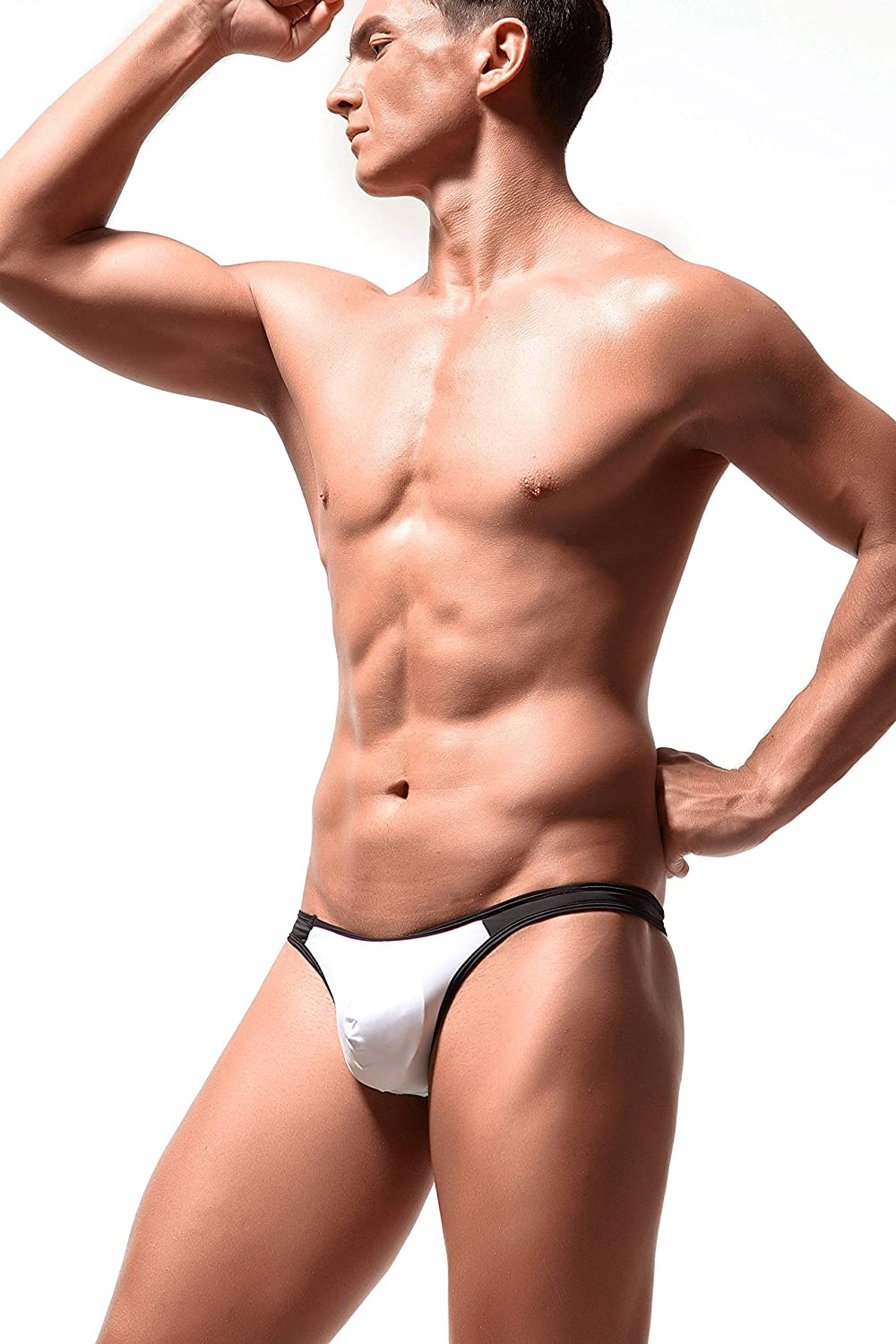 Newsywell Mens 3-Pack Ice Silk Thongs T-Back Low Rise G-String Bikini Briefs Underwear