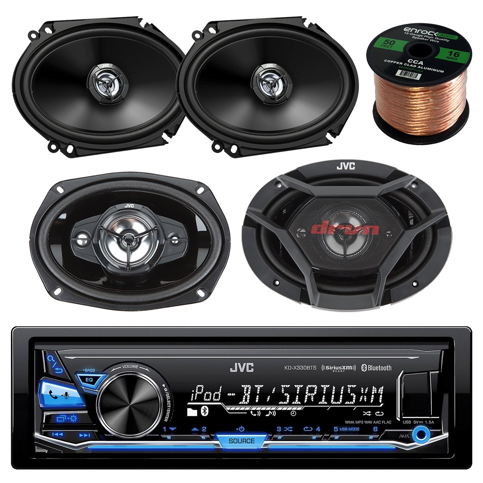 JVC KD-X330BTS AM/FM USB AUX Car Stereo Receiver Bundle Combo With 2x CS-DR6820 300-Watt 6x8'' Inch Vehicle Coaxial Speakers + 2x DR6930 6x9'' Inch 3-Way Audio Speakers + Enrock 50 Feet 16-Gauge Wire
