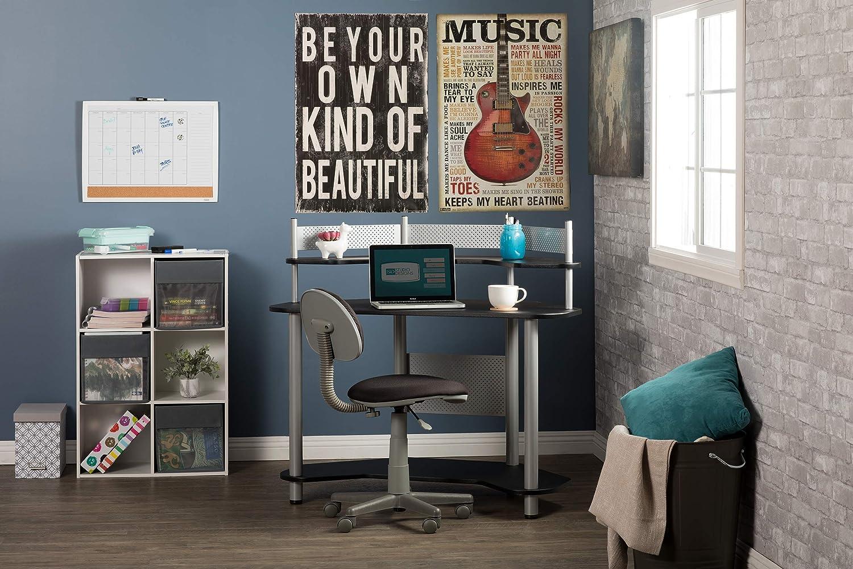 Silver with Black Studio Designs Calico 55123 Study Corner Desk