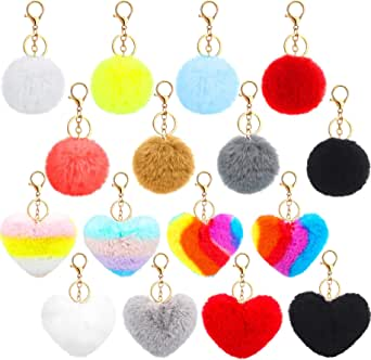 16 Pieces Pom Poms Keychains Fluffy Round and Heart Shape Pompoms Keyring Faux Fur Pompoms for Valentine Day