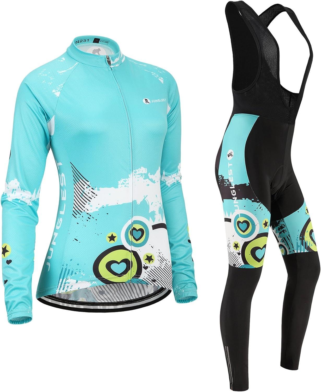 N231 Cycling jersey Set Women Long sleeve S~5XL,option:bib,3D pad