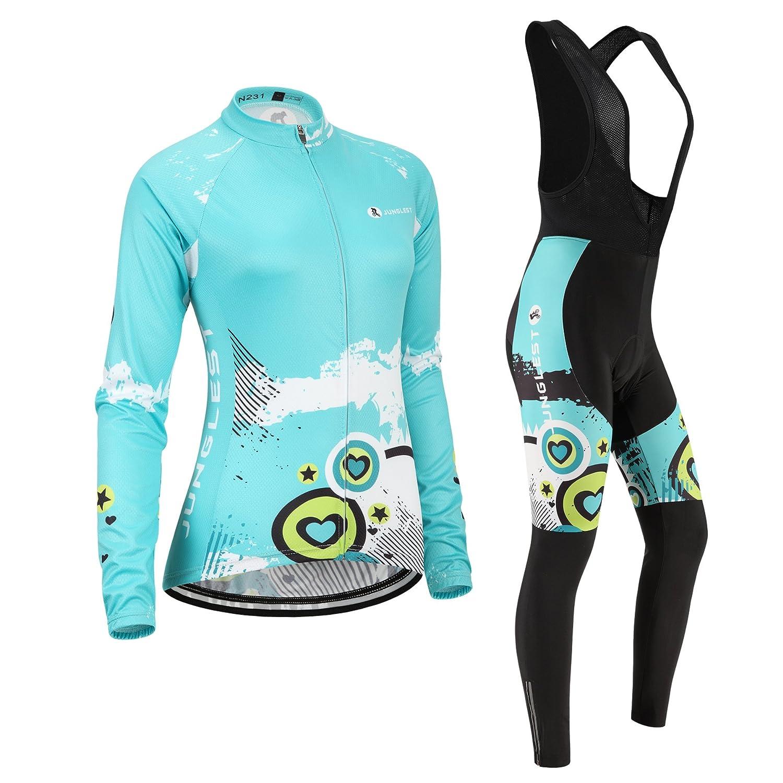 Cycling Jersey Setレディース長袖( S ~ 5 X L、オプション:よだれかけ、3dパッド) n231 B01BX2FCRO M(General pad)(158-169cm/50-64kg)|種類: セット(ブラック前掛け) 種類: セット(ブラック前掛け) M(General pad)(158-169cm/50-64kg)