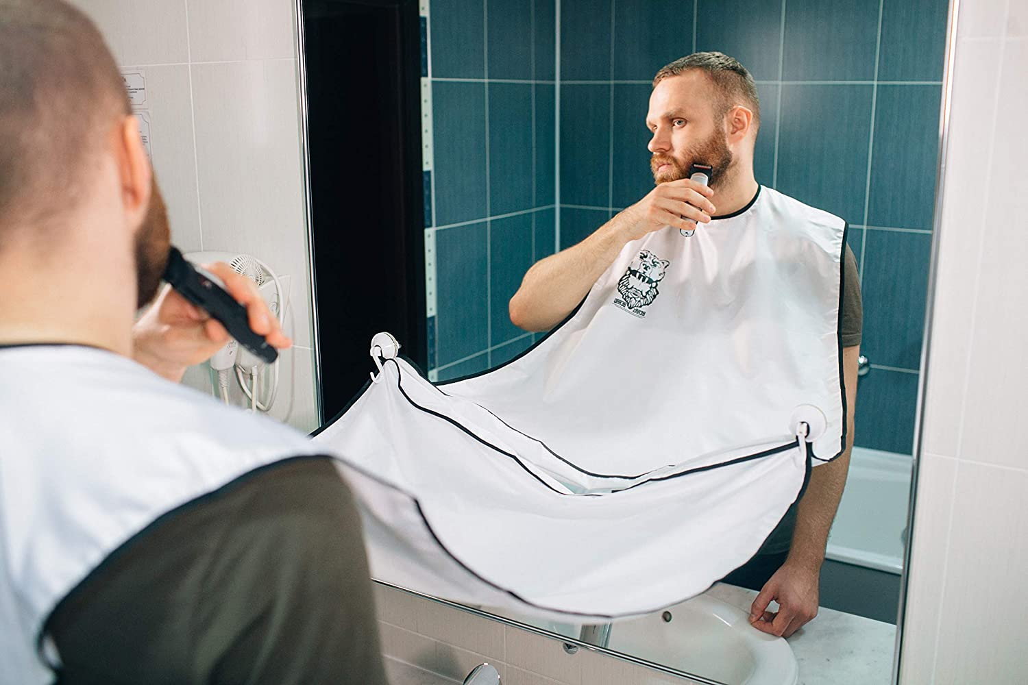 Bear's Beard Beard Apron Bib + Good Gift - Beard Catcher Apron for Trimming Your Beard - to Keep Yourself and your Sink Clean - Perfect Gift for Men – White Bear' s Beard