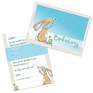10 Niedliche Einladungskarten Zum Kindergeburtstag U0026quot;Hase HAMLETu0026quot;  DIN A6 / Einladungen Kindergeburtstag /