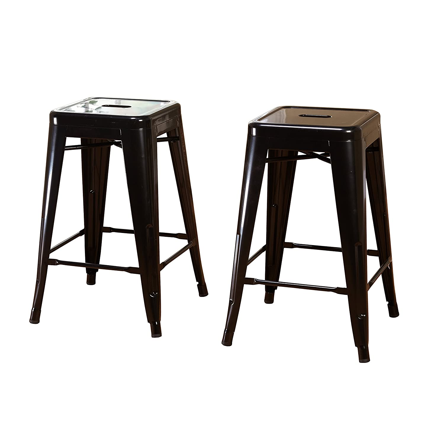Stupendous Target Marketing Systems Milan Collection Set Of 2 Metal Backless And Armless Stacking Stools With Floor Glides Black Creativecarmelina Interior Chair Design Creativecarmelinacom