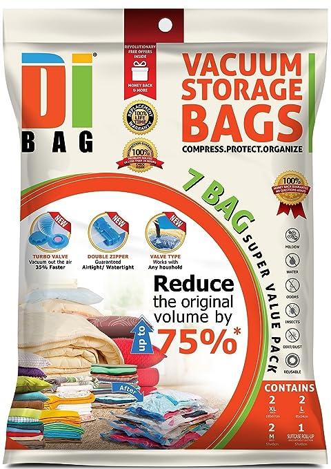 132 opinioni per DIBAG ® 7 Buste- sacchetti di immagazzinaggio di vuoto salvaspazio 2x(57x45 cm)