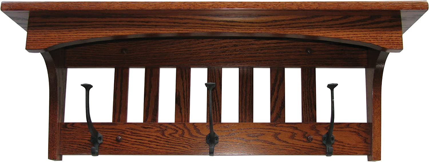 Amazon Com Wood Coat Rack Shelf Wall Mounted Mission Captain 3 Hook Oak Wood Contact Us With Your Stain Or Paint Choice Custom Available Home Kitchen