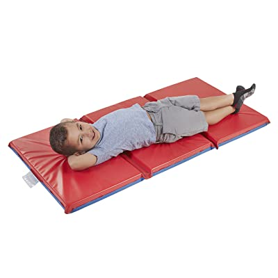 "ECR4Kids Premium 3-Fold Daycare Rest Mat, Blue and Red (2"" Thick): Industrial & Scientific"