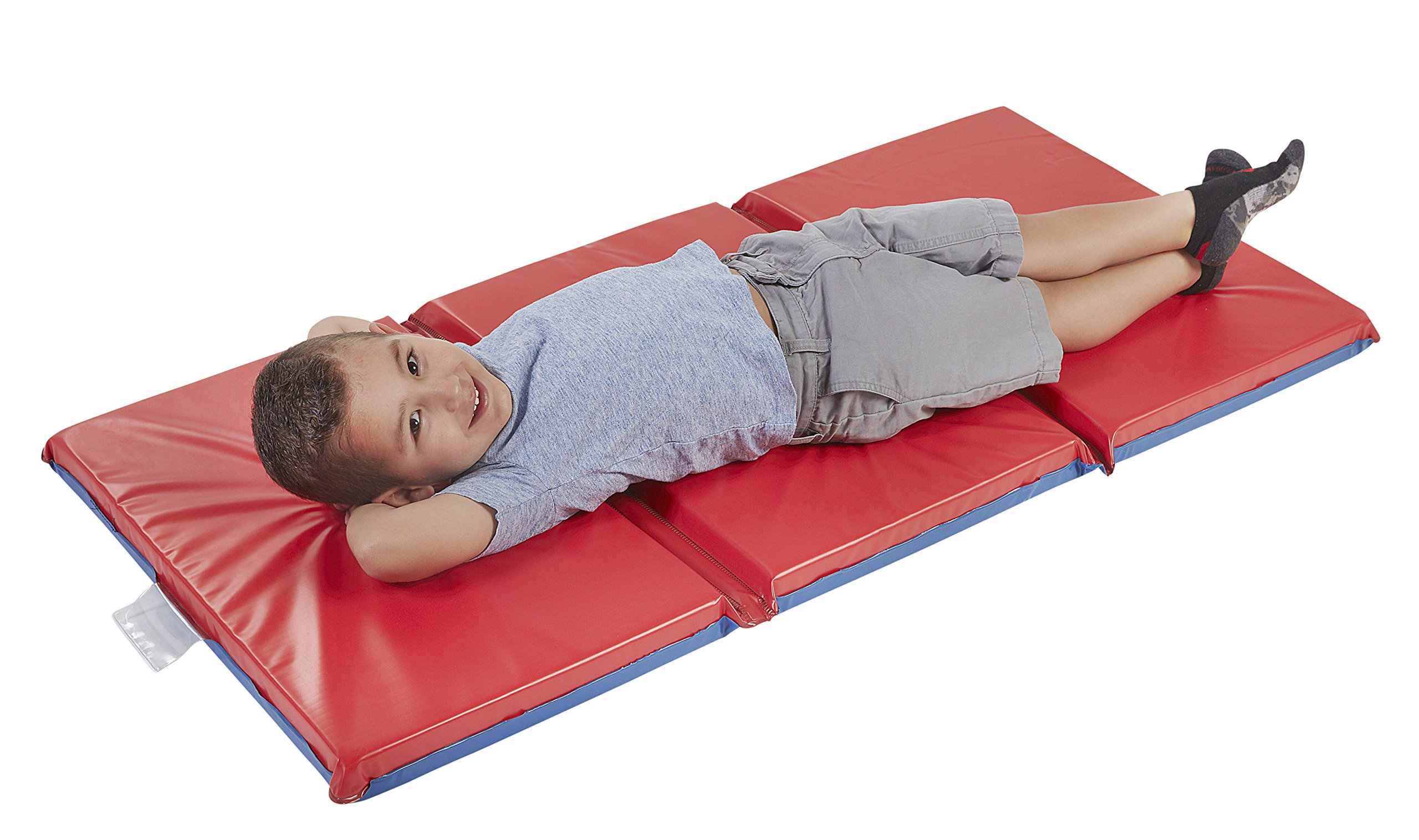 ECR4Kids Premium 3-Fold Daycare Rest Mat, Blue and Red (2'' Thick) by ECR4Kids