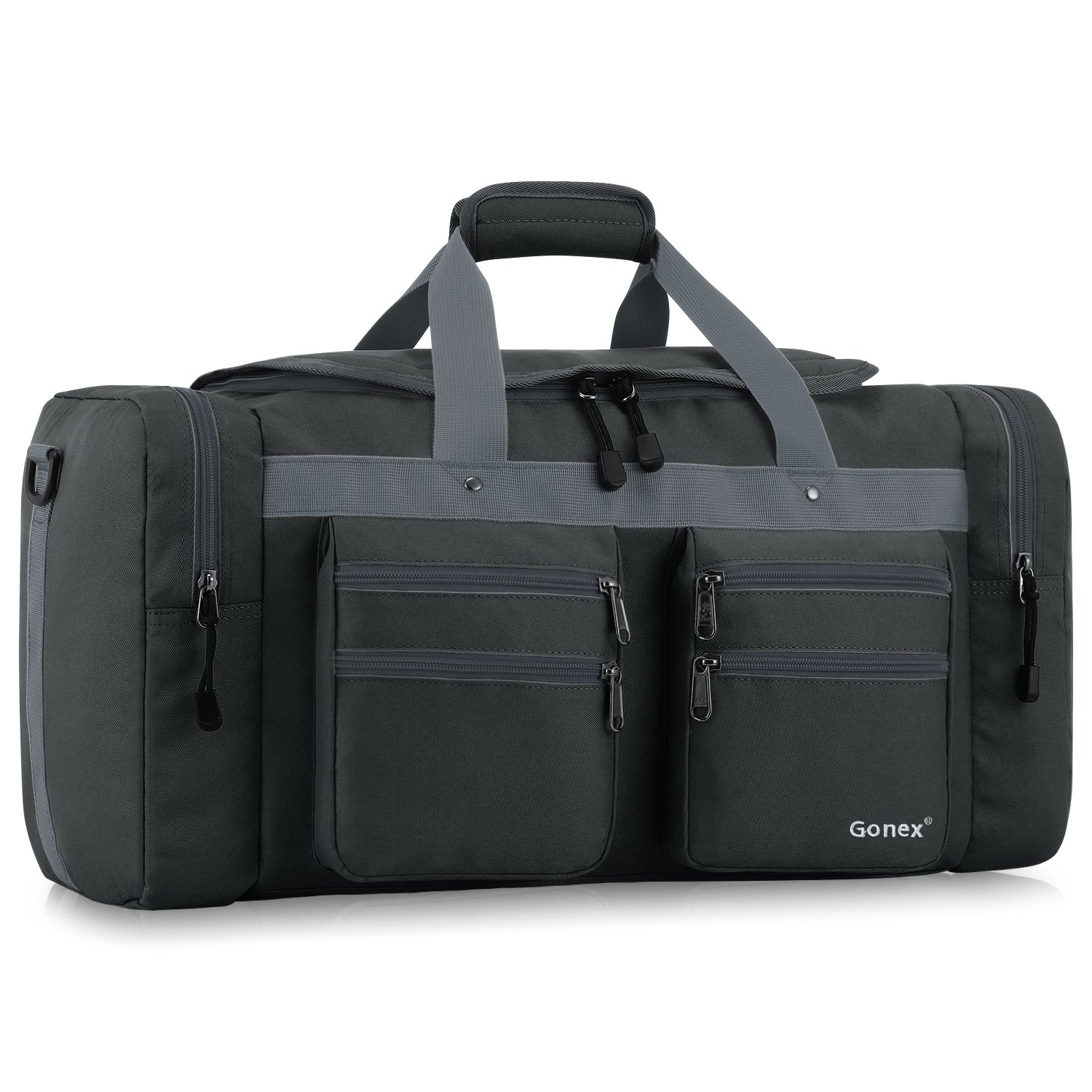 Gonex 45L Travel Duffel, Gym Sports Luggage Bag Water-resistant Many Pockets(Dark gray)