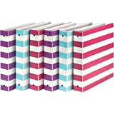 Samsill MP20121 Fashion Design 3 Ring Binder, Stripes, 1.5 Inch Round Rings, Assorted Colors (Purple, Pink, Turquoise), Bulk Binders - 6 Pack