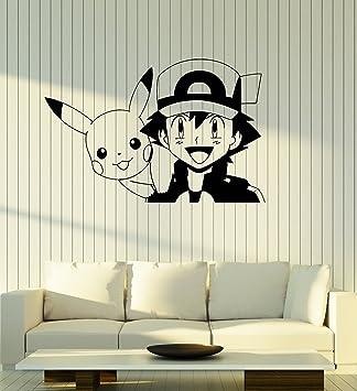 Grand Autocollant Mural En Vinyle Pokémon Pikachu Anime Manga