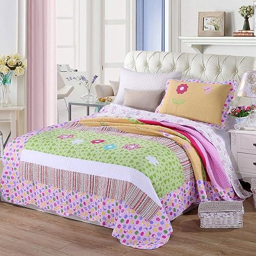 keke House® Colcha algodón Niños Colcha patchwork Flores Roman ...