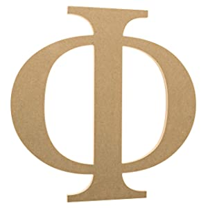 "12"" Wooden Greek Letter Phi - Fraternity/Sorority Premium MDF Wood Letters (12 inch, Phi)"