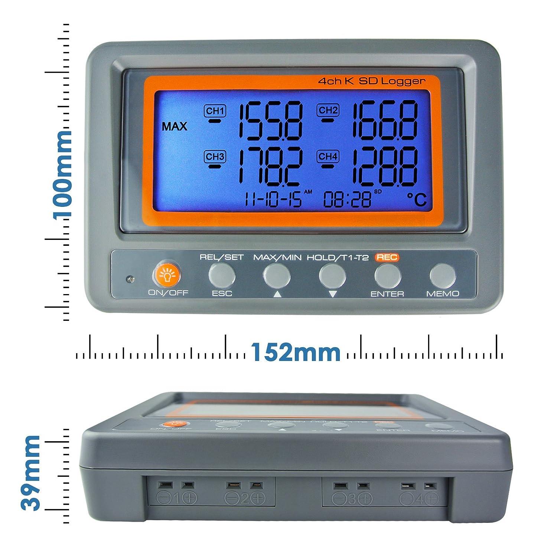 4/canaux K Type de carte SD Thermom/ètre Enregistreur de donn/ées temp/érature Thermocouple avec beeper et alarme LED
