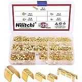Hilitchi 525Pcs TC-1, TC-A, TC-B, TC-C, TC-T Non-Insulated U Shape Copper Ring Terminals Crimp Assortment Kit Wire Spade Elec