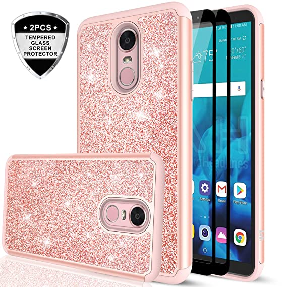 separation shoes 02ae2 ff94c LeYi LG Stylo 4 Case, LG Stylo 4 Plus Case, LG Q Stylus Glitter Case with  Tempered Glass Screen Protector [2 Pack], Bling Girls Women Heavy Duty ...