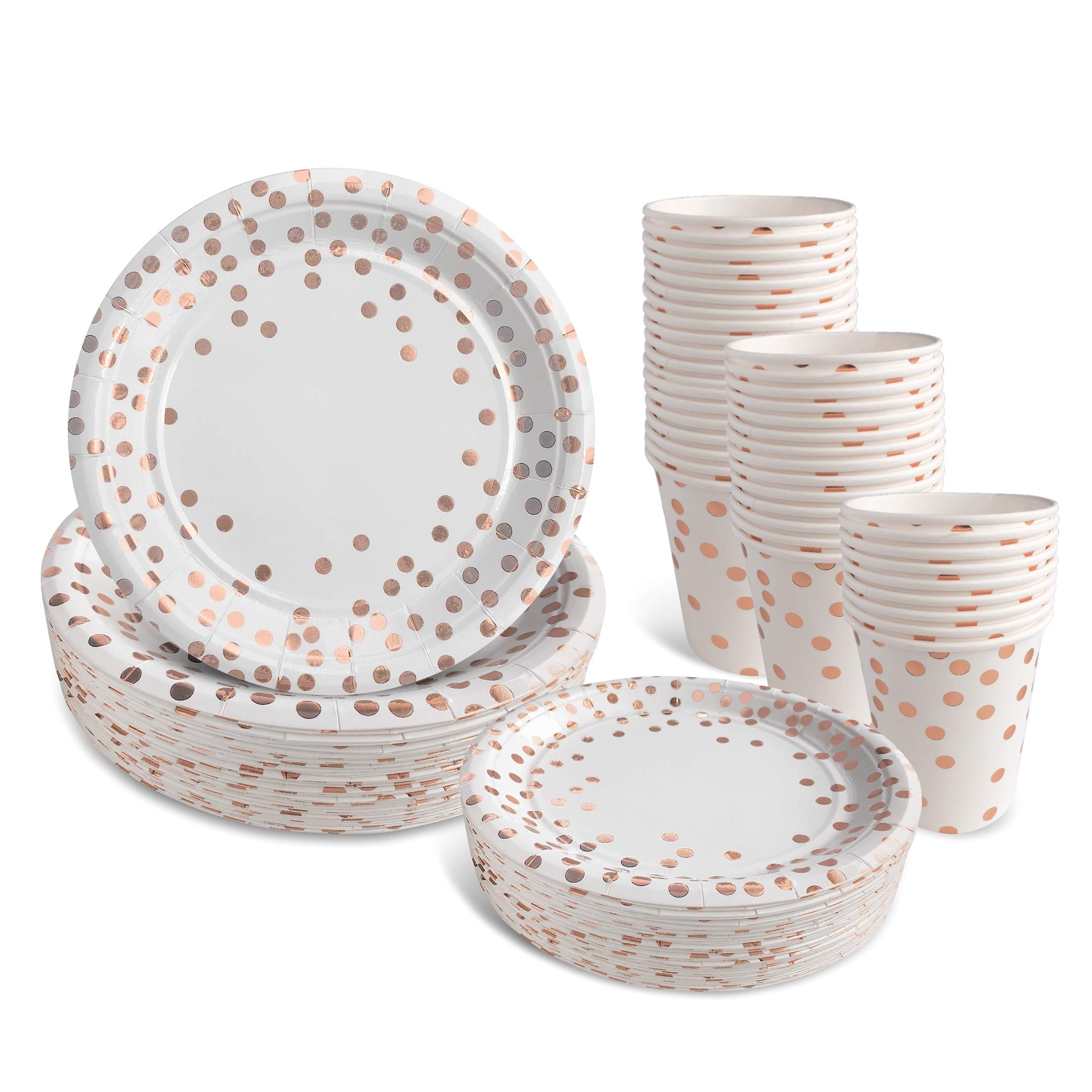 Fegodi Rose Gold Paper Plates and Cups Set for 50 - Disposable Cups, Dinner Plates and Dessert Plates - Bridal Shower, Baby Shower, Wedding, Anniversary, Birthday Party Supplies - 150pcs
