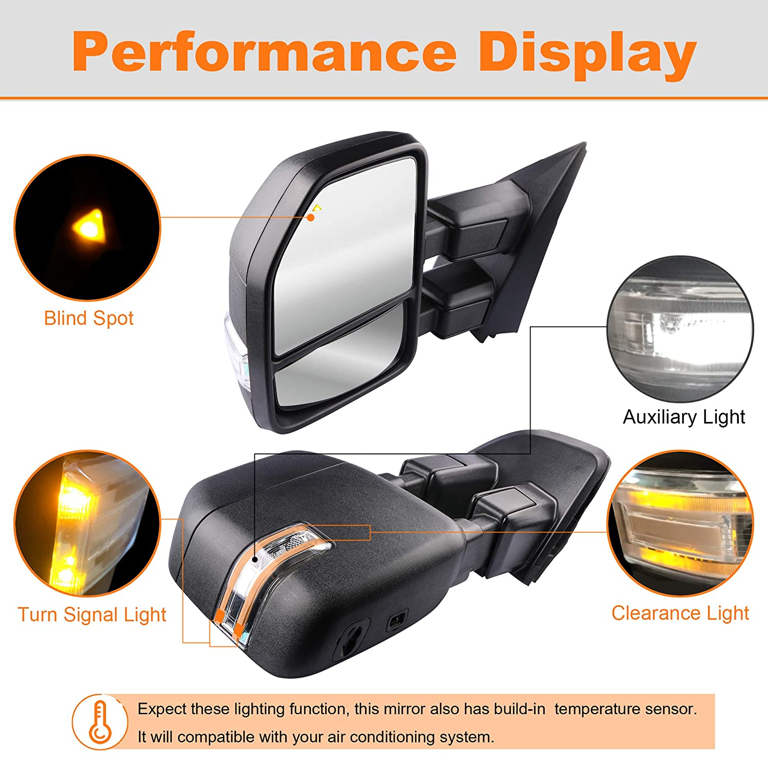 MOSTPLUS New Power Heated Towing Mirrors w//Temperature Sensor for Ford Super Duty F-250 F-350 F-450 F-550 2017 2018 w//Blind Spot,Turn Signal,Clearance and Auxiliary Lamp Set of 2