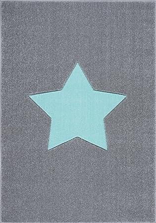 Livone Hochwertiger Jugendteppich Kinderzimmer Kinderteppich Stern Silber  grau Mint Größe 160 x 220 cm