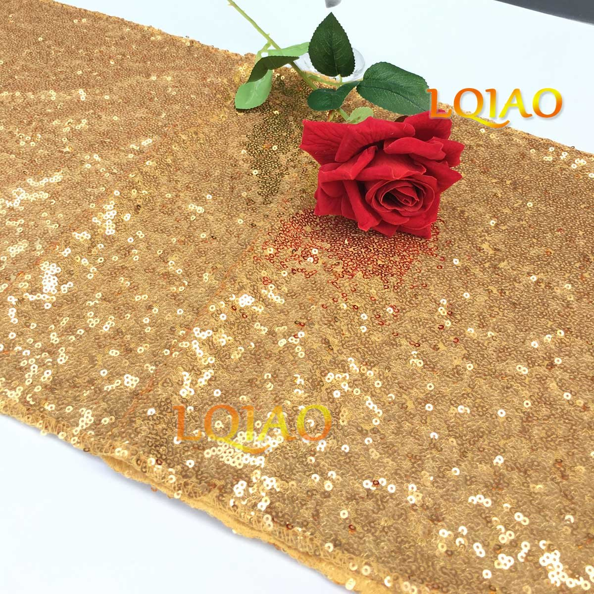 LQIAO Christmas Table Runner Sequin 12x108-in, Gold, Shiny Fabric Birthday/Wedding/Party Decoration(wholesale Possible), Pack of 20 PCS by LQIAO