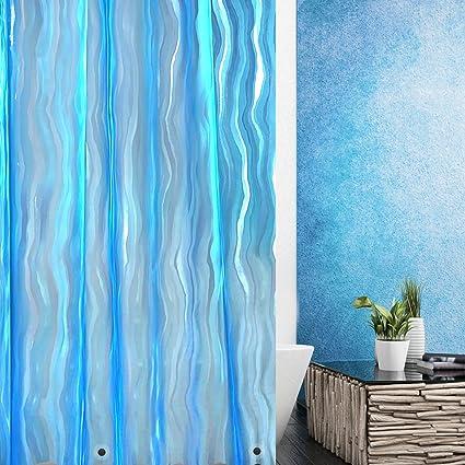 Wimaha Shower Curtain Liner Mildew Resistant Anti Bacterial Waterproof For Bathroom 3D Design Ripple Plastic