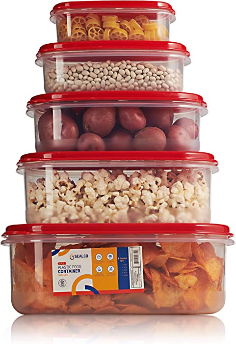 Sealco Food Storage Meal Prep Lunch Box Containers with Lids – Reusable Plastic Containers – BPA-Free, Stackable, Microwave, Dishwasher, Freezer Safe 5 Piece Set
