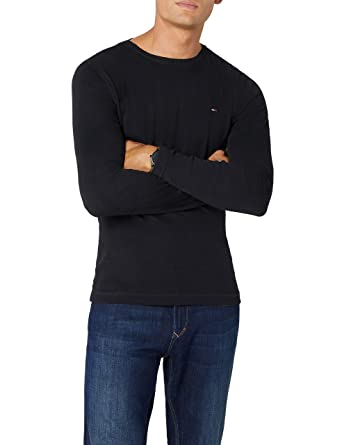 8947274f1 Hilfiger Denim Men's Original Rib Long Sleeve T-Shirt, Tommy Black, X-