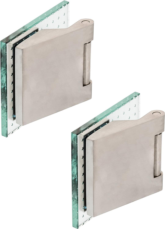 Glast/ürband Paar Edelstahl matt Glast/ürbeschlag Studiobohrung Officebohrung Glast/ürb/änder Glast/ürscharnier 2-tlg. B/änder rund - Edelstahl