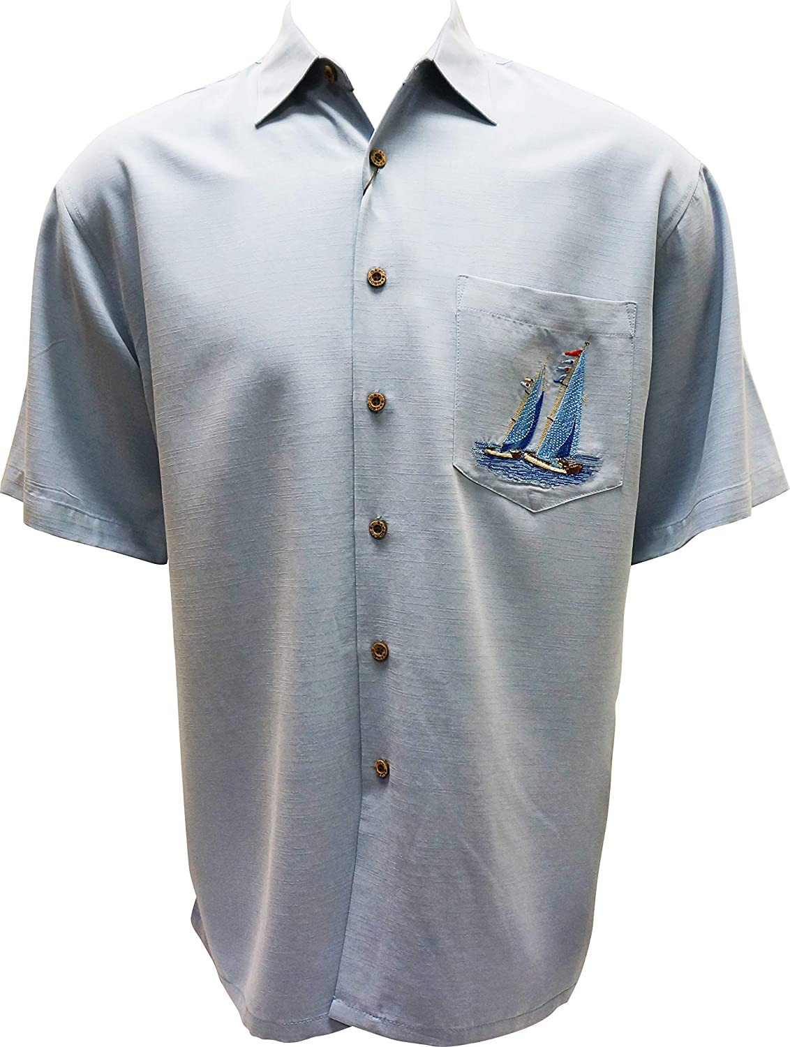 Button Front Embroidered Camp Shirt Bamboo Cay Mens Sailing The Good Life