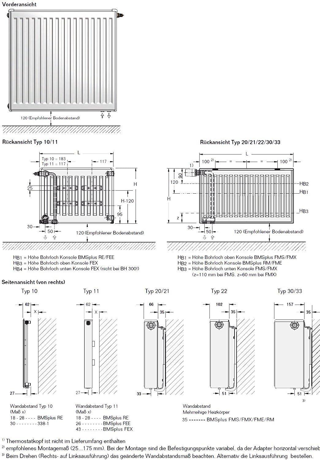Buderus Ventilheizk/örper Typ 22 600 x 1400 H/öhe x Breite in mm VC-Profil Ventilkompaktheizk/örper Flachheizk/örper Heizk/örper