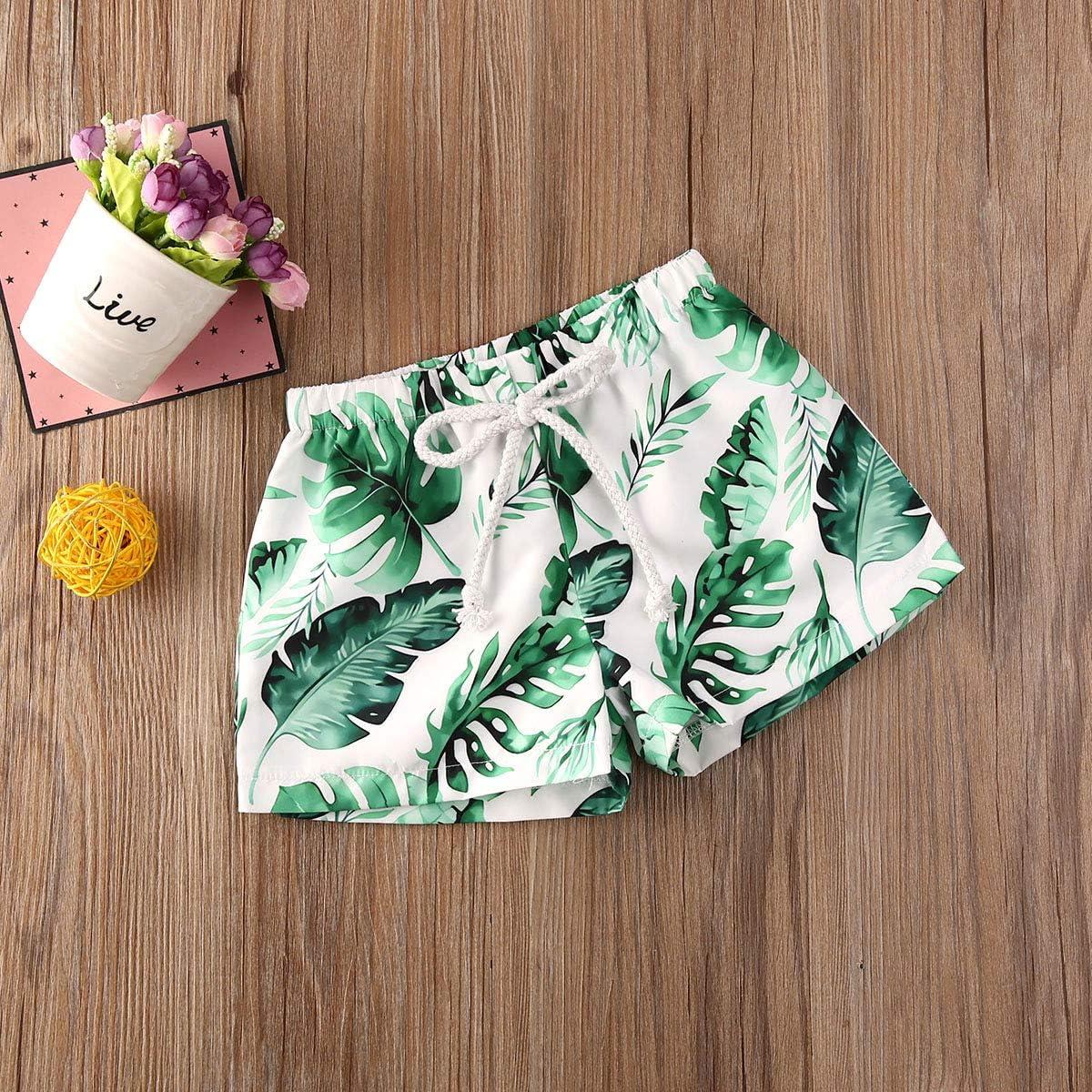 Toddler Baby Boy Hawaiian Beach Shorts Pineapple Leaf Print Swim Trunks Kids Broad Shorts Surf Swimwear
